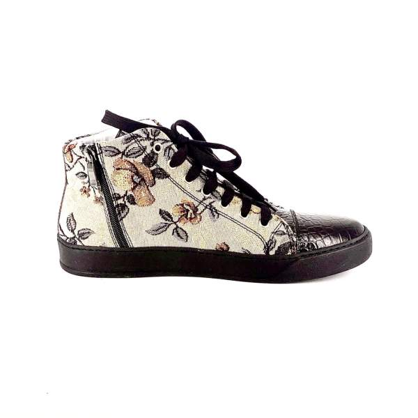 FLORAL GOBELIN FABRIC WITH shiny BROWN LEATHER RYC & RICH-YCLED Handmade Shoes From Italy €280