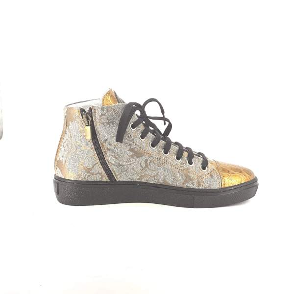 Beige n' Silver BAROCCATO WITH GOLD COCO LEATHER RYC & RICH-YCLED Handmade Shoes From Italy €285