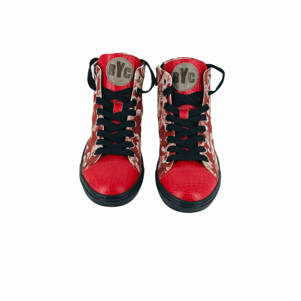 RED N' WHITE DAMASCATO WITH coco RED LEATHER RYC & RICH-YCLED Handmade Shoes From Italy 280€