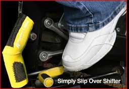 Yellow installed shift sock