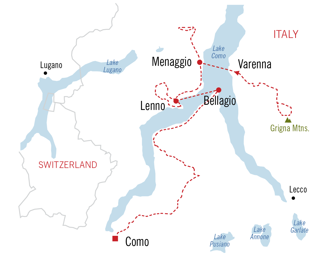 Major Lakes Map Italy