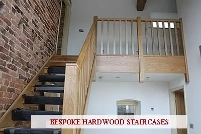 An image of a bespoke staircase manufactured in Oak.
