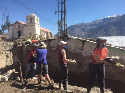 Chain gang to shift large rocks for the foundations