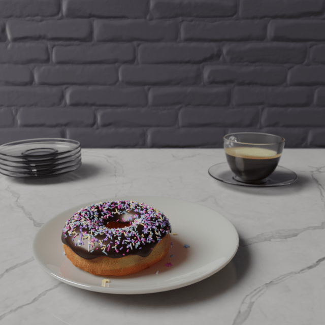 Coffee in a clear glass cup, and a donut with chocolate frosting and sprinkles on a shiny white plate.