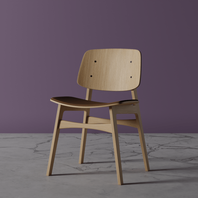 Wooden chair with a leather seat