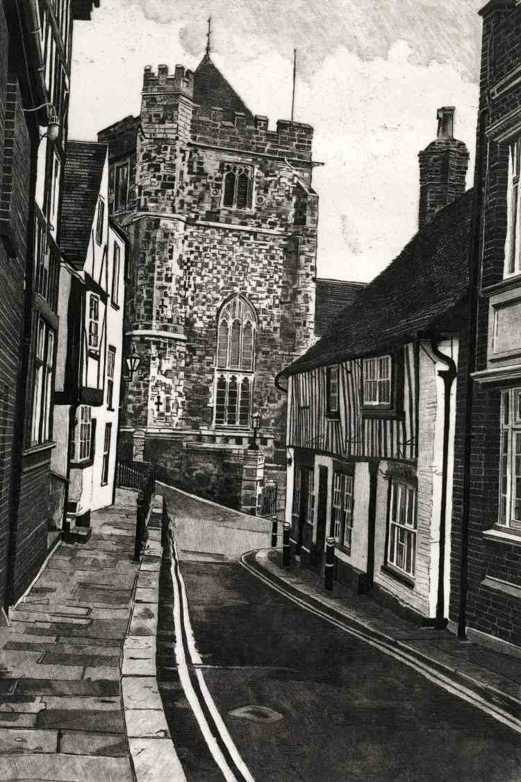Etching by Colin Bailey of Hill Street looking down towards St Clements Church and Swan Terrace in Hastings Old Town