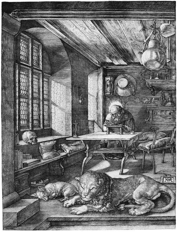 Printmaking: St. Jerome in His Study (1514), an engraving by Northern Renaissance master Albrecht Dürer