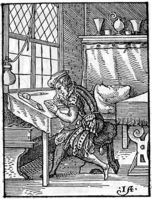 Printmaking: Block Cutter at Work woodcut by Jost Amman, 1568