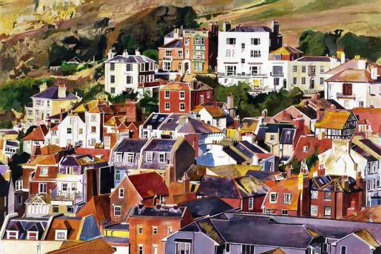 Golden Autumnal light on roofs of Hastings, East Sussex at the seaward end of the Old Town. Painting on board and giclee print by Colin Bailey