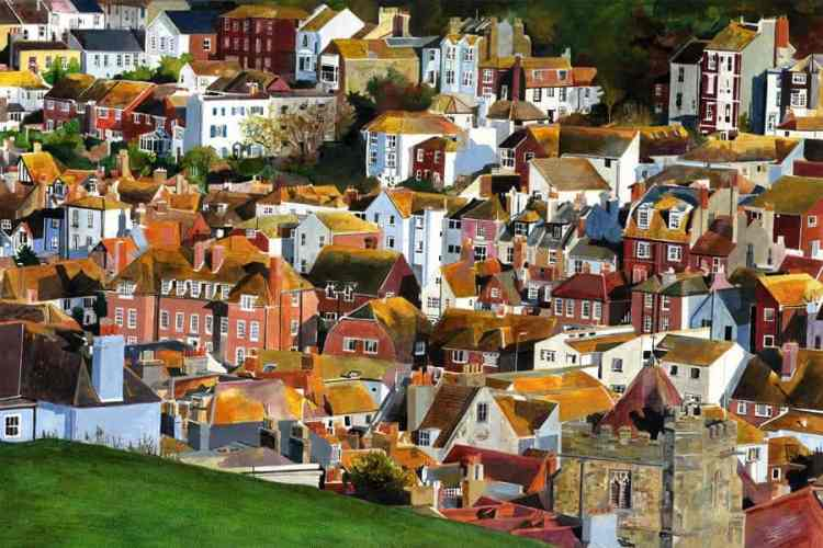 ORANGES… Oil on board painting and giclée print Orange light light on the roofs of the Old Town viewed from the West Hill with St Clements church just below the brow of the hill. olin Bailey. Late afternoon sunlight paints an Orange glow over the top end of  Hastings Old Town.