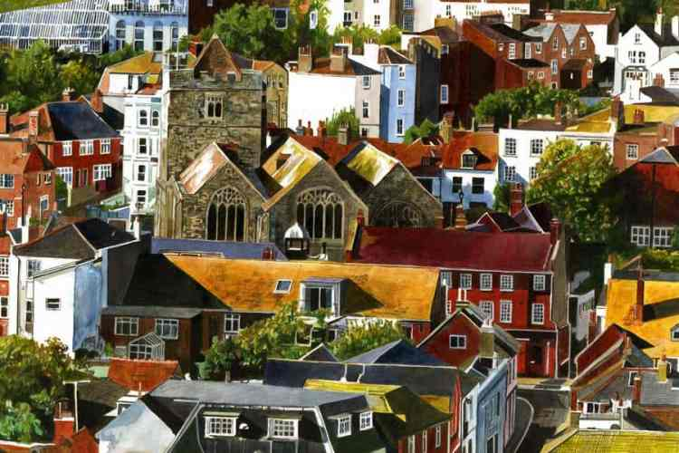 OLD TOWN SUMMER ROOFS = Painting and giclée print by Colin Bailey. Summer sunshine colouring the roofs of houses.,