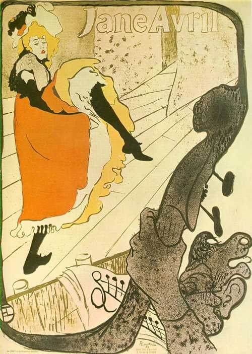 Printmaking: lithography. Jane Avril, poster, 1893, by Toulouse-Lautrec