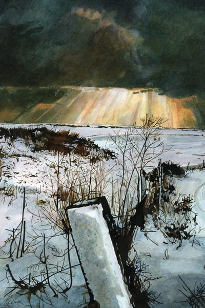 LAST POST - Snow covered fields on the walk from Rye past Camber Castle to the sea. Limited edition giclée print of Rye.