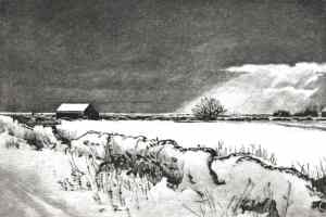 WINTER FIELDS NEAR RYE - Snow covered field between Rye and Winchelsea beach past Camber Castle. Limited edition etching by Colin Bailey.