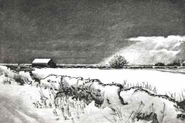 WINTER FIELDS, NEAR RYE - Snow covered field between Rye and Winchelsea beach past Camber Castle. Limited edition etching by Colin Bailey.  Click here to see larger more detailed image and view purchasing options