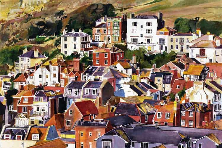 AUTUMN ROOFS - Golden Autumnal light on roofs of Hastings, East Sussex at the seaward end of Hastings Old Town. Painting on board and giclee print by Colin Bailey