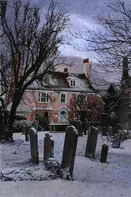 OLD VICARAGE SNOW, RYE Early morning snow in St Mary's churchyard in front of the Old Vicarage, Rye, East Sussex
