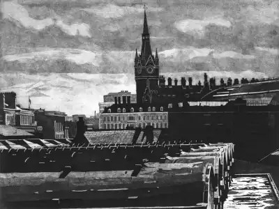 KINGS CROSS SKYLINE 2 – View from the North behind Kings Cross and St Pancras stations. The Gothic Clock tower of St Pancras station station stands silhouetted against a troubled London sky. Limited edition etching print by Colin Bailey