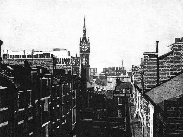KINGS CROSS SKYLINE 1 - St Pancras station clock tower rises above the courtyard of Midhope House on the Hillview estate in Kings Cross in the 1980s. Limited edition etching print by Colin Bailey