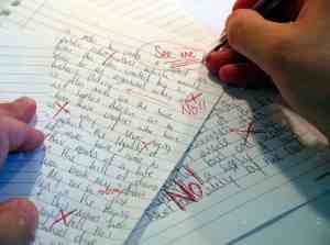 The marking would be done by teachers, mostly humans, and would come back with comments marked in aggressive red pen strokes