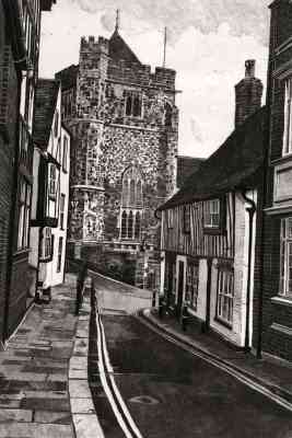 HILL STREET, HASTINGS - Etching by Colin Bailey of Hill Street looking down towards St Clements Church and Swan Terrace in Hastings Old Town. Limited edition etching
