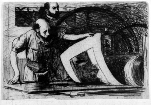 """Robert Macbeth (1848–1910): """"The artist supervising pulling a proof from the press, with the printer Frederick Goulding"""". Etching, c1897, etched as exhibition invitation."""
