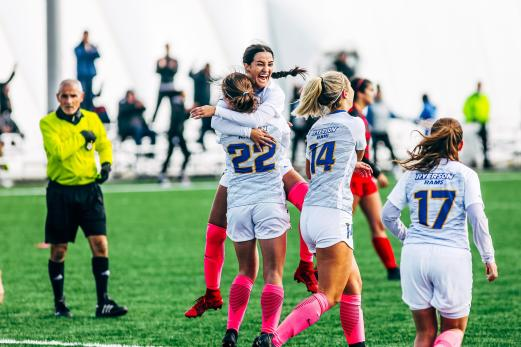Kaleigh McKye's goal celebration after scoring the game-winner in the 79th minute against the Carleton Ravens.