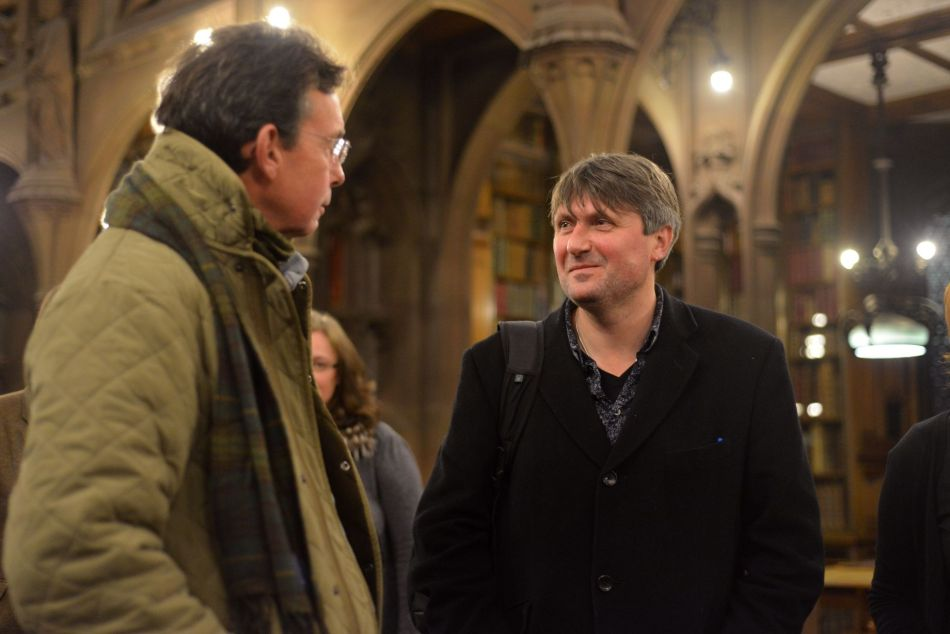 Chris McCully, Chair of the Rylands Modern Literary Archives Programme Board, talks to fellow poet Simon Armitage. Photograph courtesy of Fergus Wilde.