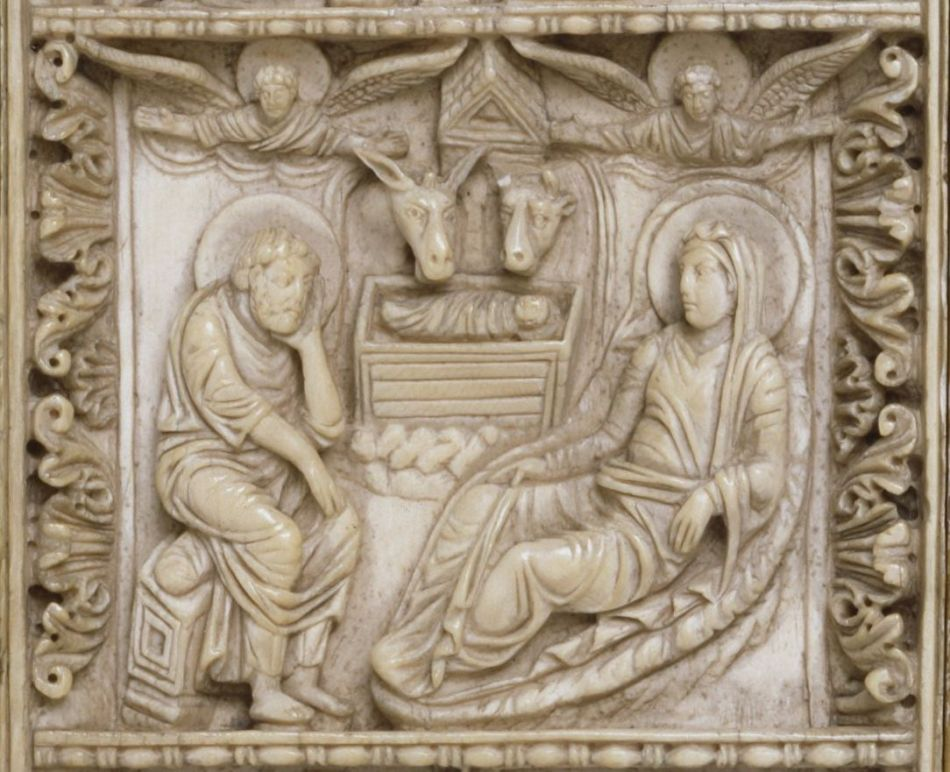 Nativity scene, from an ivory plaque on the Trier bookcovers, 10th century.