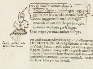 An early reader has drawn attention to this this text in the Landino edition of Dante (Florence, 1481), with both underlining and a most elaborate manicule in the Landino. 17280, f. 162v (detail).