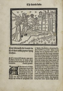 Image from Le Morte d'Arthur by Thomas Malory, printed by Wynkyn de Worde in 1498.