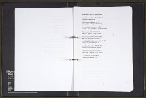 Lomas was an enthusiastic adopter of computer technology, printing out his poems and amending them by hand. Several different versions of this poem, from Lomas's final (unpublished) collection Nightlights, appear in the archive; the version which appeared in his Collected Poems takes his minor handwritten amendment here into account, omitting his initials from the fifth stanza.