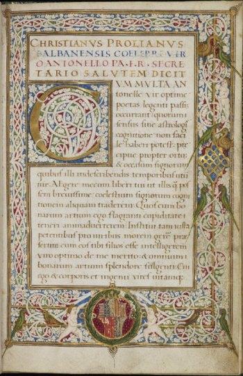 Christianus Prolianus, Astronomia, c.1478, Latin MS 53, f.1r