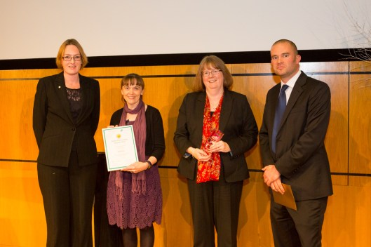 Fran Baker (2nd from left) and Sandra Bracegirdle (3rd from left) receiving the award from digital preservation experts Maureen Pennock (of the British Library) and Paul Wheatley
