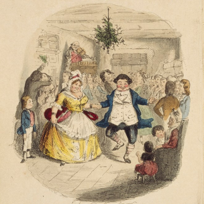 As Christmas parties fill up December, here's a Victorian take on a festive evening - Mr Fezziwig's Ball from Charles Dickens' 'A Christmas Carol'. This print by John Leech is from an 1844 edition of Dickens' still popular Christmas ghost story (first published in 1843).