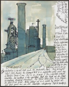 Blast furnace at Millom, in a letter of 1971, labelled 'A sad epitaph'. The ironworks at Millom were closed down in 1968. Norman Nicholson's poem 'On the Closing of Millom Ironworks' reflects on this and the widespread unemployment it caused in the town.