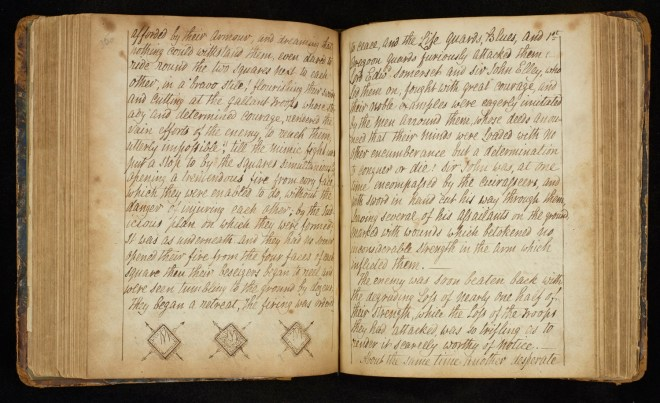An opening of the soldier's journal, with diagrams of the 'squares' - the defensive formations used by the British forces.