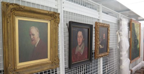 Paintings in the storage area.
