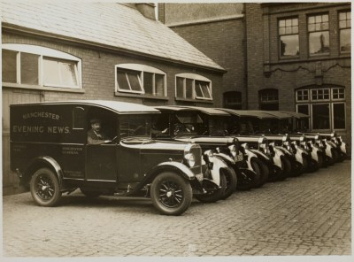Manchester Evening News drivers, outside the Broughton Street garage in Salford, 1955-56.