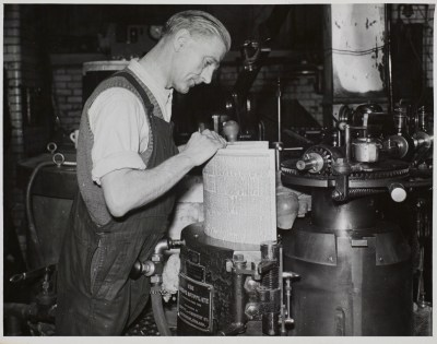 Manchester Guardian Auto-plate operator, date unknown.