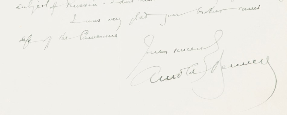 Snippet from Arnold Bennett letter
