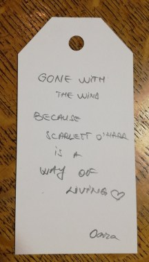 A response card reaing: 'Gone with the Wind. Because Scarlett O'Hara is a way of living'.