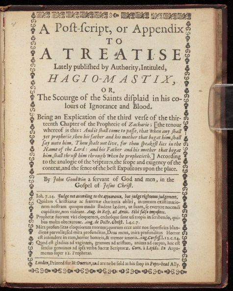 Title page of 'A post-script, or Appendix to a Tratise...intitled Hagiomastix'