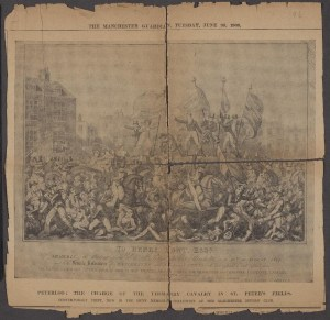 Image of a damaged newspaper sheet, losses at the edges and splitting along fold lines