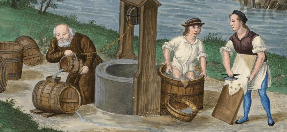 Detail of a manuscript illustration of two people making leather