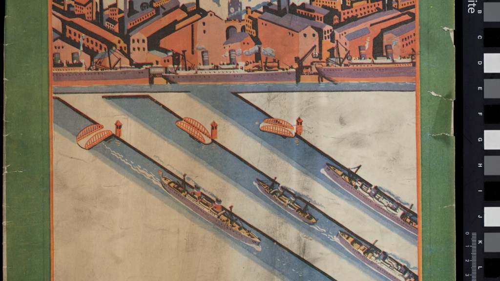Front cover of The Manchester Guardian's Civic Week Number 1926 with image of ships travelling up the canal to Manchester