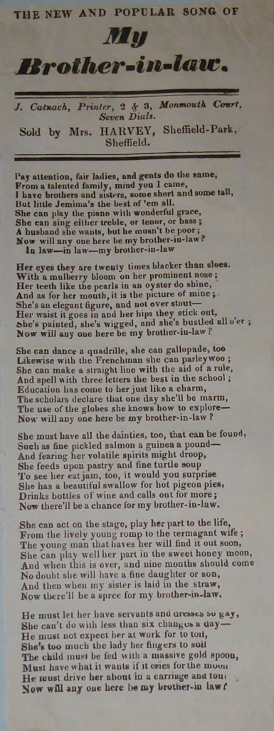 Ballad printed in one column by James Catnach of London.  Sold by Mrs Harvey of Sheffield. Six verses of eight lines.