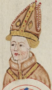 Miniature painting depicting the head of Augustine of Canterbury wearing an ornately decorated Mitre and religious robe.