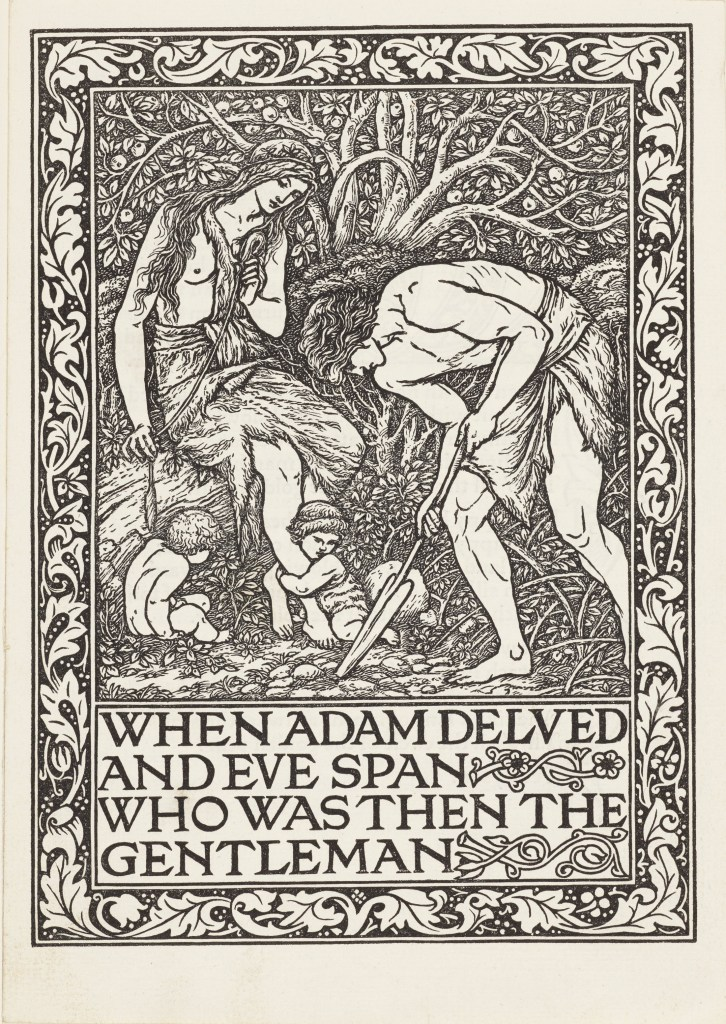 Wood-engraving of Adam digging and Eve spinning in the Garden of Eden.  Cain and Abel as babies at Eve's feet.