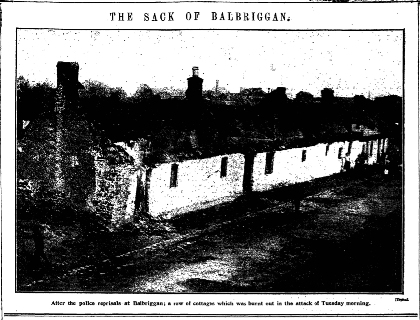 Black and White image of burnt out cottages from a newspaper article in the Manchester Guardian. Ref: THE SACK OF BALBRIGGAN. (1920, Sep 23). The Manchester Guardian (1901-1959) Retrieved from https://manchester.idm.oclc.org/login?url=https://www-proquest-com.manchester.idm.oclc.org/historical-newspapers/sack-balbriggan/docview/476391425/se-2?accountid=12253